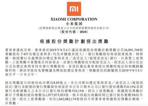 小米给员工发福利:派发3亿港元股份!