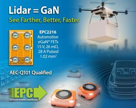 """车规级氮化镓场效应晶体管(15 V 的EPC2216)使得ToF激光雷达系统""""看得""""更清晰"""