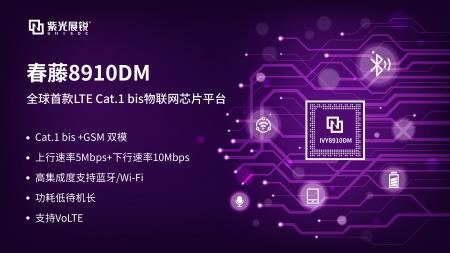 重磅!紫光展锐发布春藤8910DM Cat.1 bis芯片平台