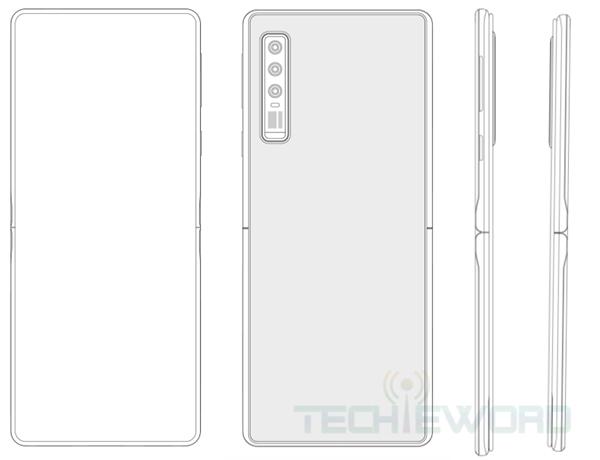 华为全新折叠屏专利曝光 采用上下翻折 手机中部有铰链