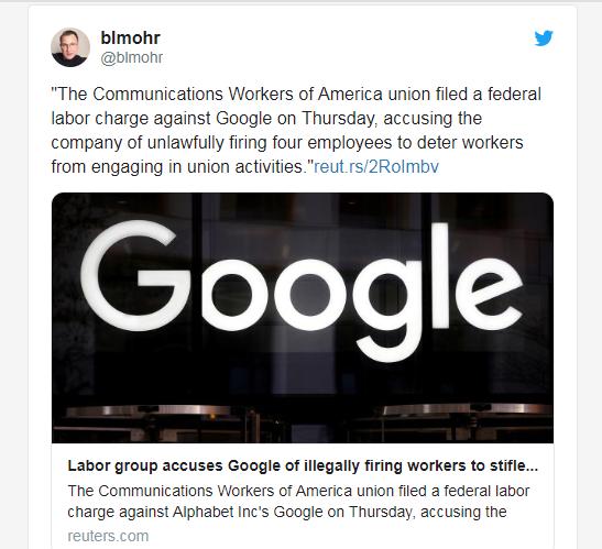 违反公司政策而被解雇! CWA:Google不公平解雇工会员工