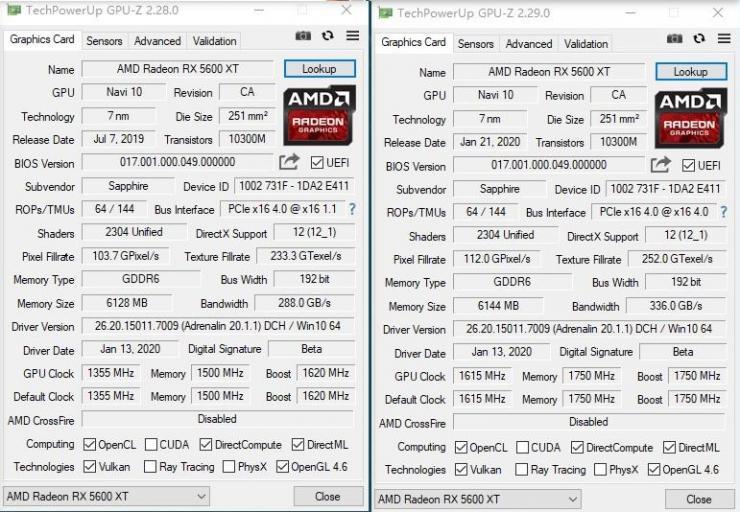 蓝宝石RX 5600 XT显卡新旧BIOS对比测评