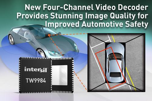 Intersil推出新型四通道视频解码器,帮助提高汽车安全性