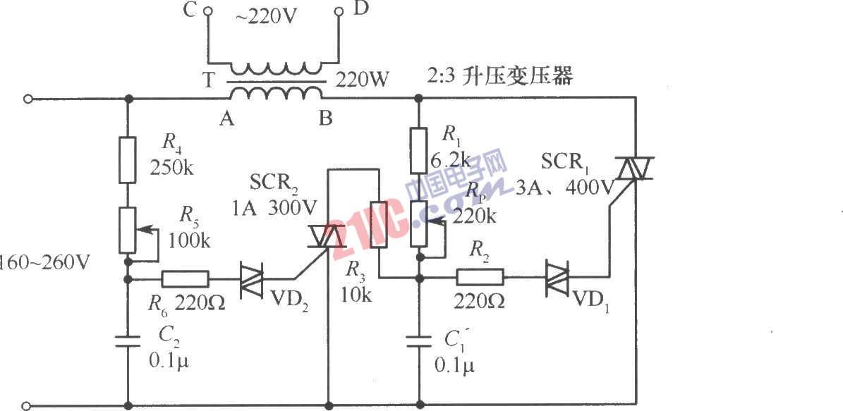 电路 可控硅 双向 交流稳压器/如图是一个由双向可控硅组成的交流稳压器电路。