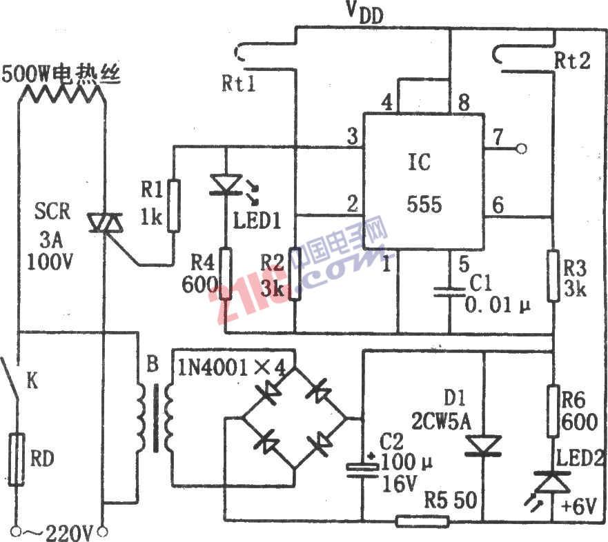 构成 简易 电路 控制器 恒温/刚通电时,IC(555)因②脚和⑥脚均为低电平(地电位)而自3脚输出高...