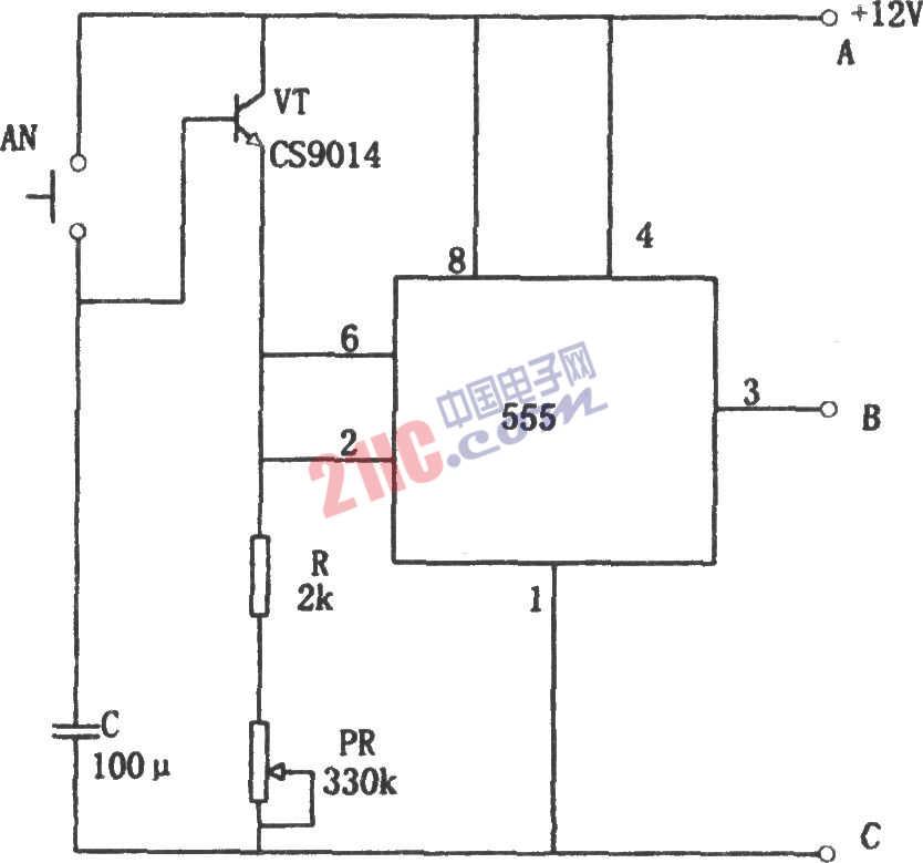 555构成简单的长时间定时电路图图片
