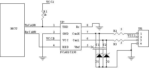 图2 CAN总线节点电路原理图-CAN总线在液压支架电液控制系统的应用高清图片