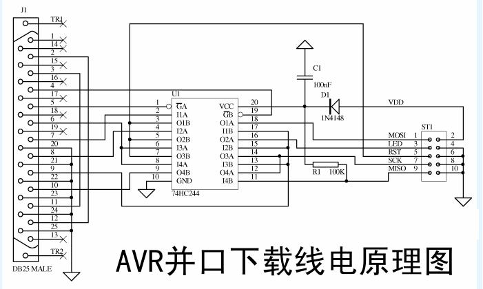 AVR单片机的并口ISP下载线原理及制作
