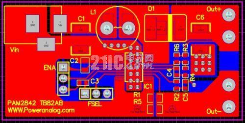 图8:PAM2842的演示板印制板图。