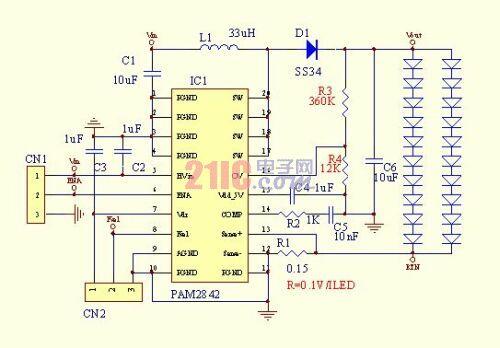 图7:两串10个1W的LED相并联。