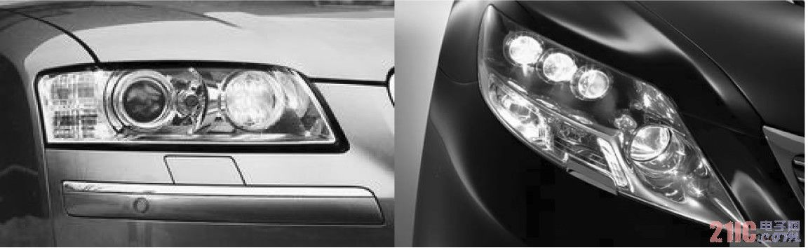 Audi A8 日间行车灯( 左) 及丰田全白光Nichia LED 前照灯( 右)