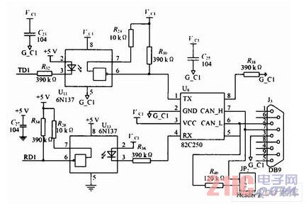 CAN驱动器82C250的连接电路