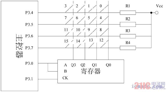 电梯按键输入单元电路图