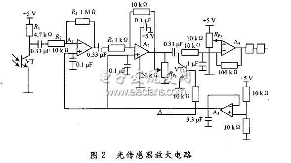 基于运算放大器设计的三级级联光传感器放大电路