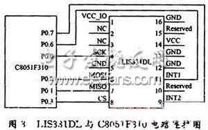 LIS331DL与C8051F310的电路连接图