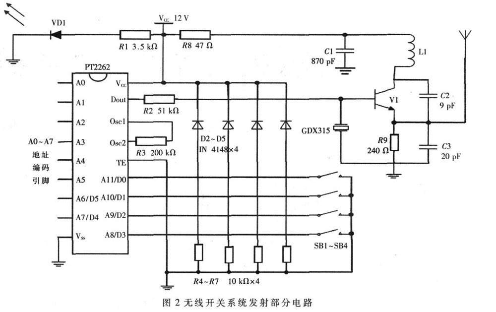 无线开关系统发射部分电路