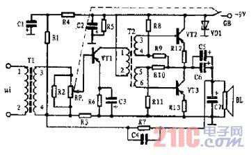 小功率音频信号放大器电路图图片