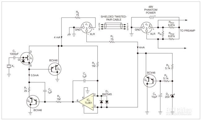 图1,一个反馈回路平衡了一对电缆导体上的DC电压,该电缆为高阻抗-低阻抗转换器Q1提供电源。