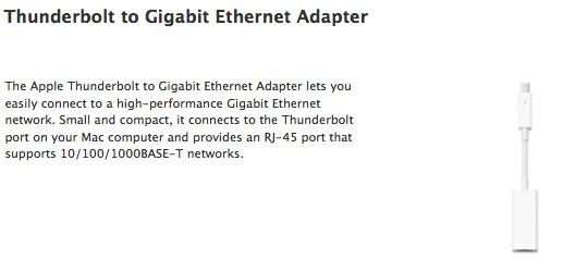 Apple 的 Thunderbolt 转 Ethernet 连接线已经上架,要价 29 美元