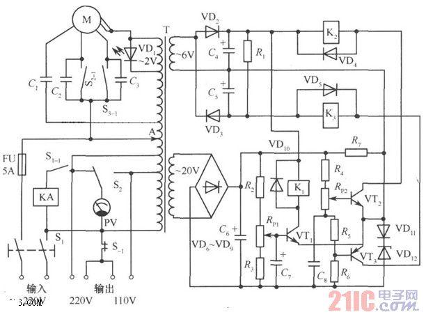 1000w自动调压交流稳压电路图图片