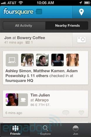 查看附近好友签到功能重回 BlackBerry 及 iOS 版 Foursquare