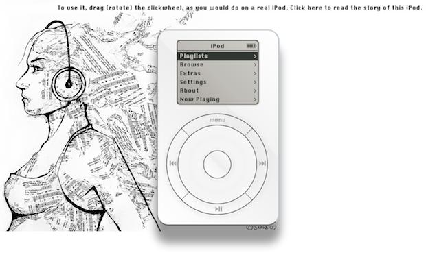 粉丝用网页代码打造第一代 iPod ,用来纪念乔布斯