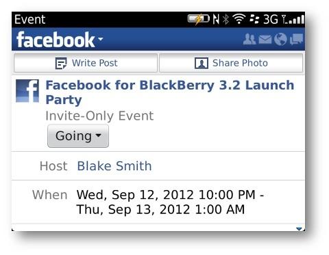 Facebook for Blackberry 更新,带来更完整事件通知功能
