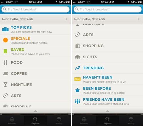 iOS 版 Foursquare 更新:支持 iPhone 5 / iOS 6,Explore 加入更多个人化设定