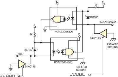 本电路是一种简单的I2C隔离器