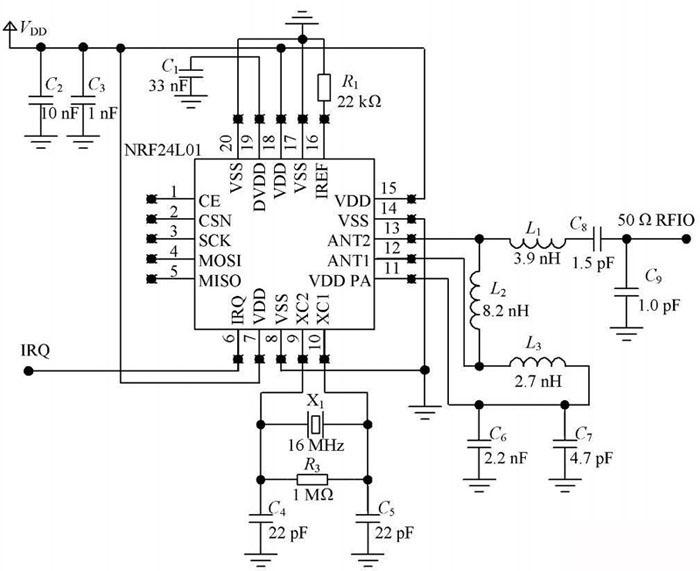 设计 通信/图1 NRF2401 芯片引脚功能图。...