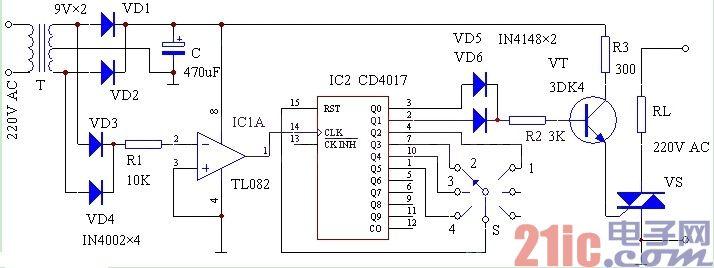 电路图/其中IC1采用通用运算放大器集成电路(如LM324N、TL082等)。