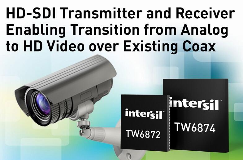 Intersil HD-SDI发射器和接收器  实现从模拟到高清视频过渡