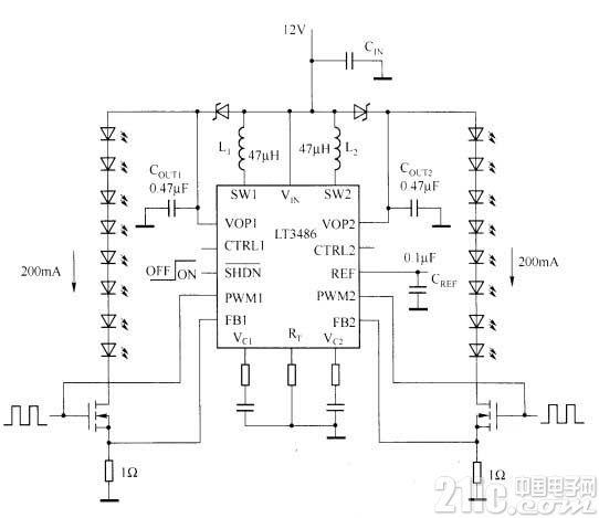 采用LT3486的汽车LED驱动器电路