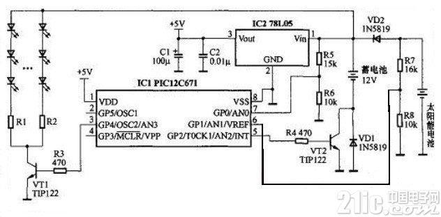 新颖的太阳能LED灯控制器电路