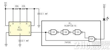 LED快速光脉冲产生电路图
