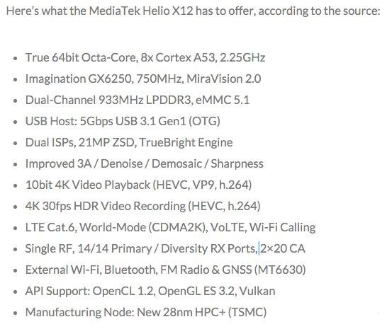 联发科Helio X12处理器参数曝光 小米或首发