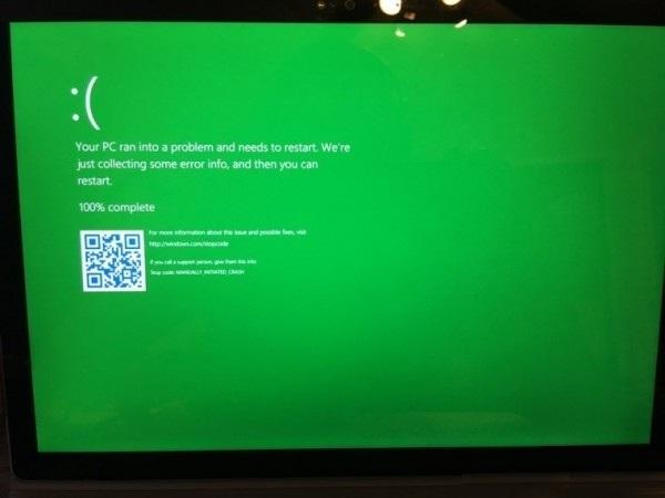 "Windows 10以后不会再""蓝屏""了,改为""绿屏""。"