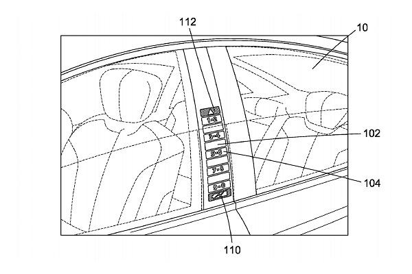 福特新专利:在电动汽车B柱上嵌入一排按键 可显示剩余电量