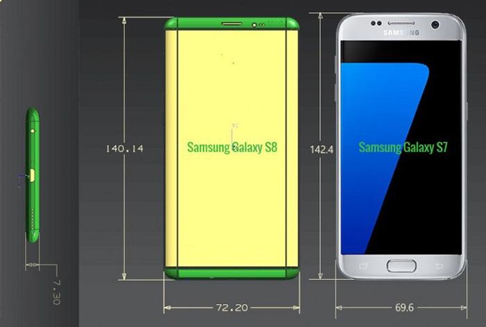 三星Galaxy S8谍照疑曝光,两种尺寸比S7更薄