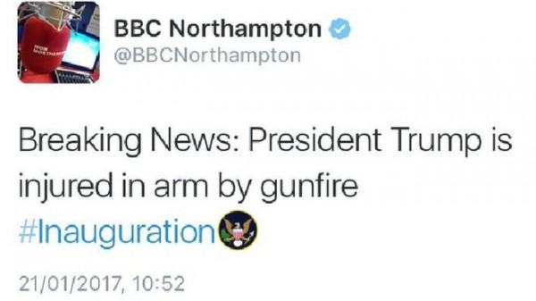 黑客攻击BBC账号并发布特朗普就职遭枪击受伤假新闻