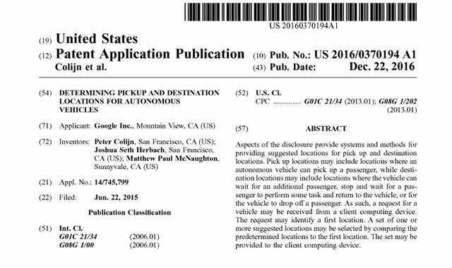 Google 这项自动驾驶的新专利,可能会让Uber瑟瑟发抖
