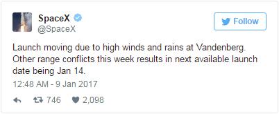 因天气条件恶劣:SpaceX猎鹰9号发射被推迟一周