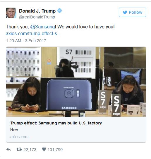 特朗普发推特感谢三星,三星并不买账