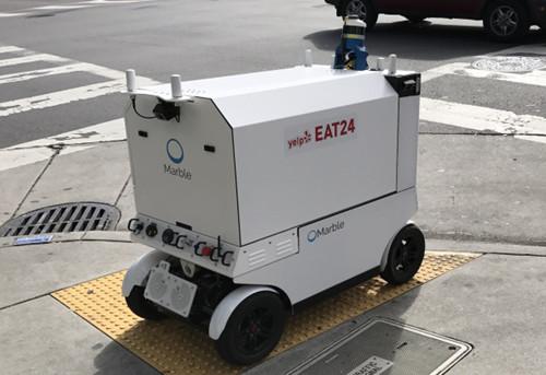 美国旧金山路上又现送餐机器人,还在测试中...