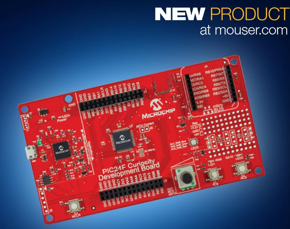 贸泽备货Microchip的16位PIC24F Curiosity开发板帮助新手用户快速上手
