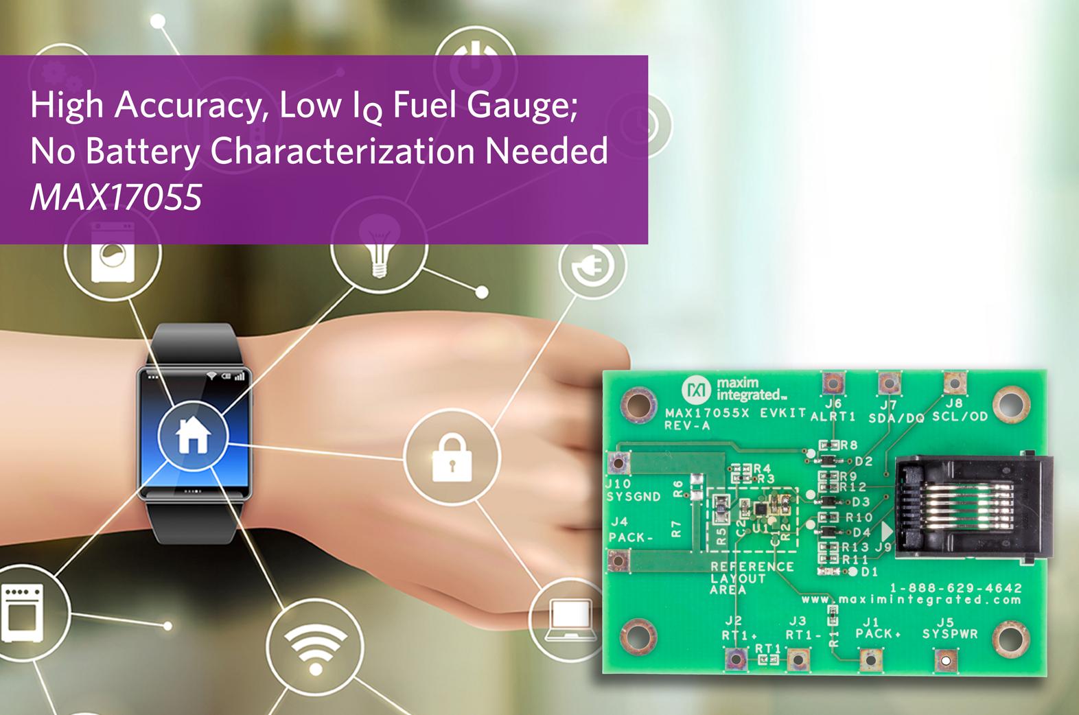 Maxim推出高精度、低静态电流电量计,轻松实现最低功耗设计