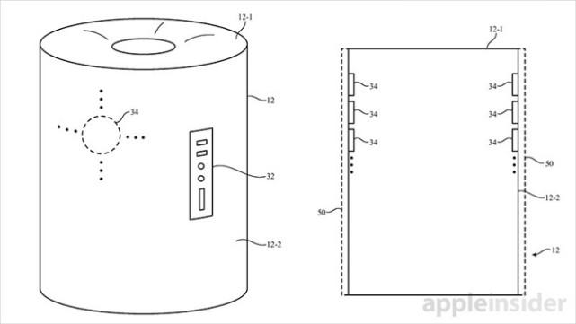苹果再获新专利:Siri智能扬声器为圆柱形
