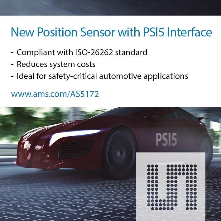 艾迈斯半导体推出具有PSI5接口的新型 汽车级磁位置传感器