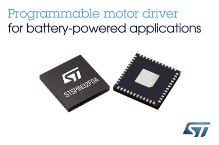 意法半导体(ST)推出内置32位MCU的电机驱动器,简化电池供电机器人和电器设备的电机控制系统
