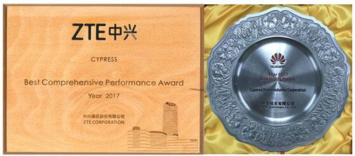赛普拉斯荣膺华为公司和中兴通讯授予的两项大奖